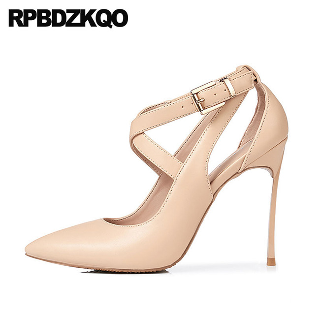Cross Strap Pointed Toe Nude 12cm 5 Inch Big Size Women Fetish Super High  Heels 8cm Shoes Extreme Red Stiletto Pumps Scarpin 39d2ecbd3a9d
