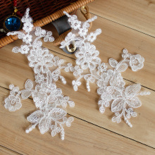 10Pcs = 5Pairs 25 * 14cm Broderte Lace Applique Lace Trim For DIY Brudekjole Av Hvit Farge
