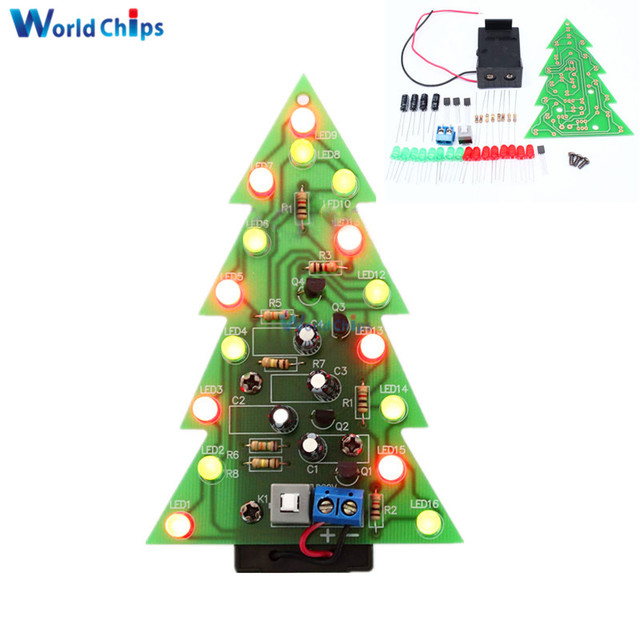 diy kit christmas trees led circuit red green flash light electronic suit