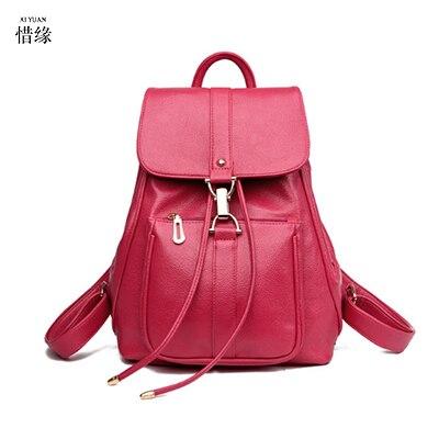 Designe Women's Backpacks pu  Leather Female Backpack Women Schoolbag For Girls Large Capacity Shoulder Travel Mochila Bolsa red