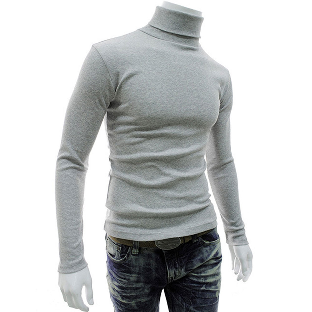 High Casual Men Long Sleeve Knitwear Autumn Winter Turtle Neck Slim Fit Basic Pullover Tops DSM