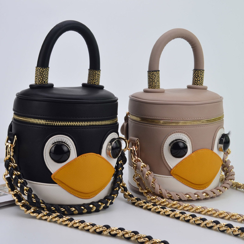 2018 New Girls Shoulder Bag Korean Famous Designer Fashion Ladies Chain Box Small Flap Handbag Hit Color Cute Penguin Small Bag