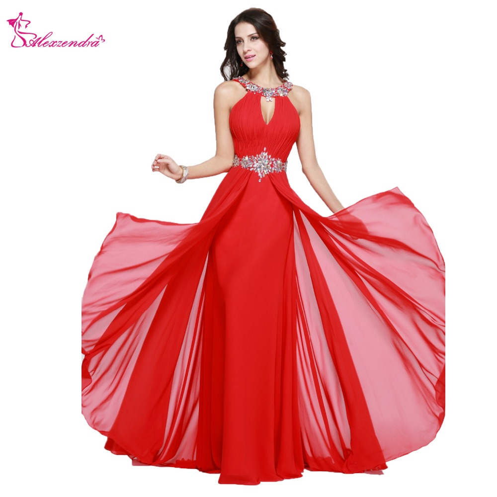 Alexzendra A Line Beaded Crystal Long Chiffon Halter Up Prom Dresses ...