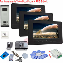 For 3 Apartments 7-Inch Color Screen Video Door Phone Monitor with Home Security 3 Keys Camera+RFID Electronic lock In Stock!