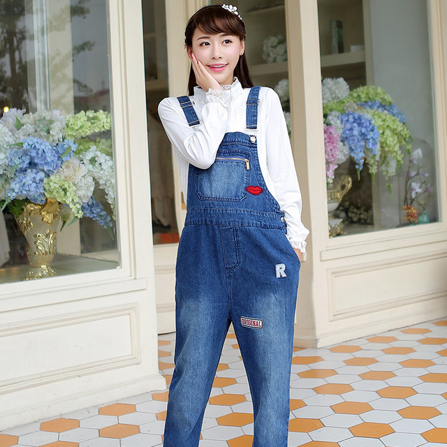 Pregnant women Sling pants Maternity jeans Spring and Autumn patch suspenders jeans