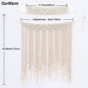 Image 5 - OurWarm Boho Wedding Decoration Macrame Wedding Backdrop 100x115cm Cotton Rope Photo Booth Backdrop Macrame Wall Hanging
