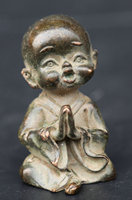 55MM/2.2 Collection China Bronze Exquisite Buddhism Cartoon Lovable A Little Monk Bareheaded Shaveling Statue Statuary 157g