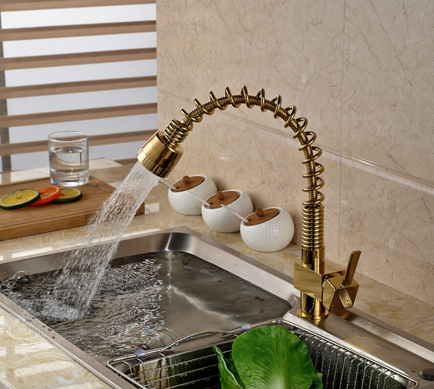 Golden Brass Spring Kitchen Faucet Vanity Sink Vessl Mixer Tap Dual Sprayer Swivel Spout Deck Mounted led spout swivel spout kitchen faucet vessel sink mixer tap chrome finish solid brass free shipping hot sale