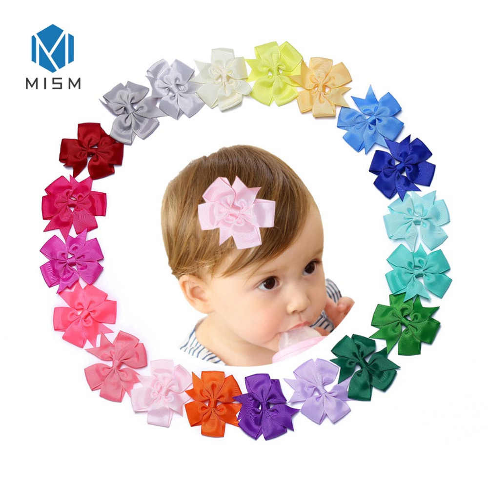 50f16a529eef MISM 40pcs 3in Ribbon Bows Hair Clips for Girl Children Lovely Barrettes  Hairpins Accessories lacos de