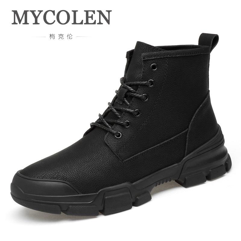 Mycolen 2019 Echtem Leder Männer Stiefel Herbst Winter Stiefeletten Mode Schuhe Lace Up Schuhe Männer Hohe Qualität Männer Schuhe