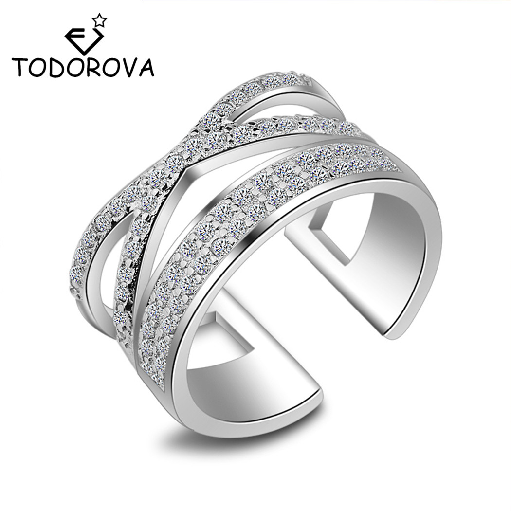 Todorova Cross Finger Ring for Women Men X Shape Exquisite Party Cocktail Adjustable Rings Zirconia Micro Paved Silver Jewelry
