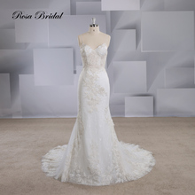 Rosabridal  mermaid wedding dress Spaghetti Straps Modern style V-neckline sleeveless with Champagne beading Trumpet bridal gown