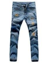 Осень мужчины прямые джинсы плюс размер 28-34 патч отверстие джинсовые брюки тонкие джинсы