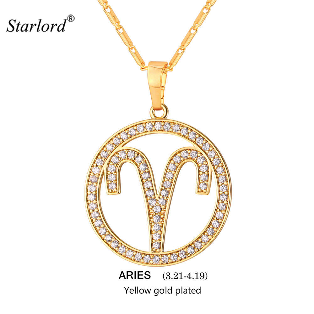 US $6 71 52% OFF|New Zodiac Charms ARIES Pendant Necklace Simple Design  Jewelry Gift Rhinestone Gold/Silver Color Necklace For Men/Women P2503-in