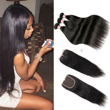 Ali Queen Hair Products With Closure Bundle Brazilian Virgin Hair Straight With Closure Cheap 3 Bundles Human Hair With Closure