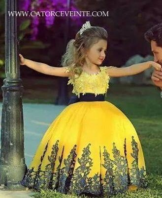 2015 Cute Yellow Spaghetti Strap Appliqued Lace Puffy   Flower     Girl     Dresses