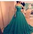 Индивидуальные Бальное платье Бирюзовый Голубой Prom Dress 2017 Длинные Рукава Кружева Аппликация Элегантный Саудовская Аравия Вечерние Платья Партии E1807