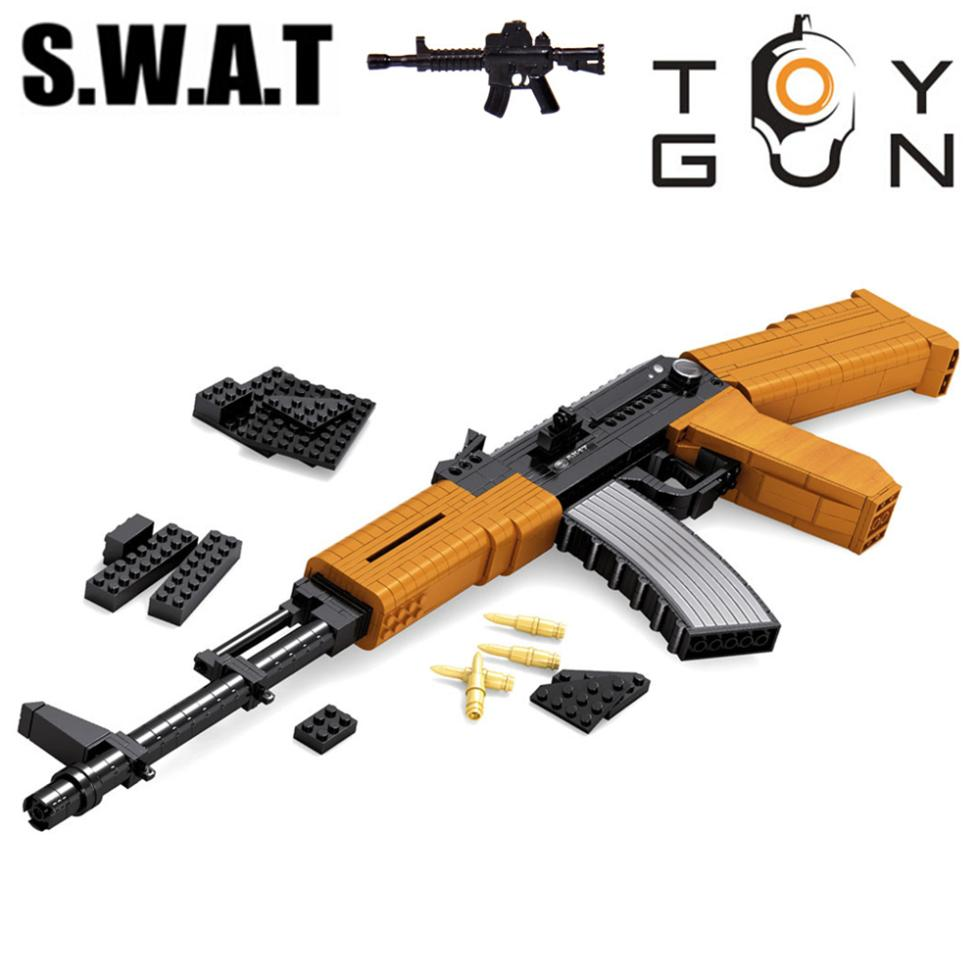 AK-47 Submachine Assault Rifle GUN Weapon Arms Model 1:1 3D DIY Model Building Blocks Brick kid Toy Gift compatiable with lego