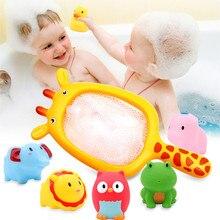 Baby Bath Tub Toy Silicone Newborn Infant Bathing Toy 7pcs Cartoon Animal Kids B