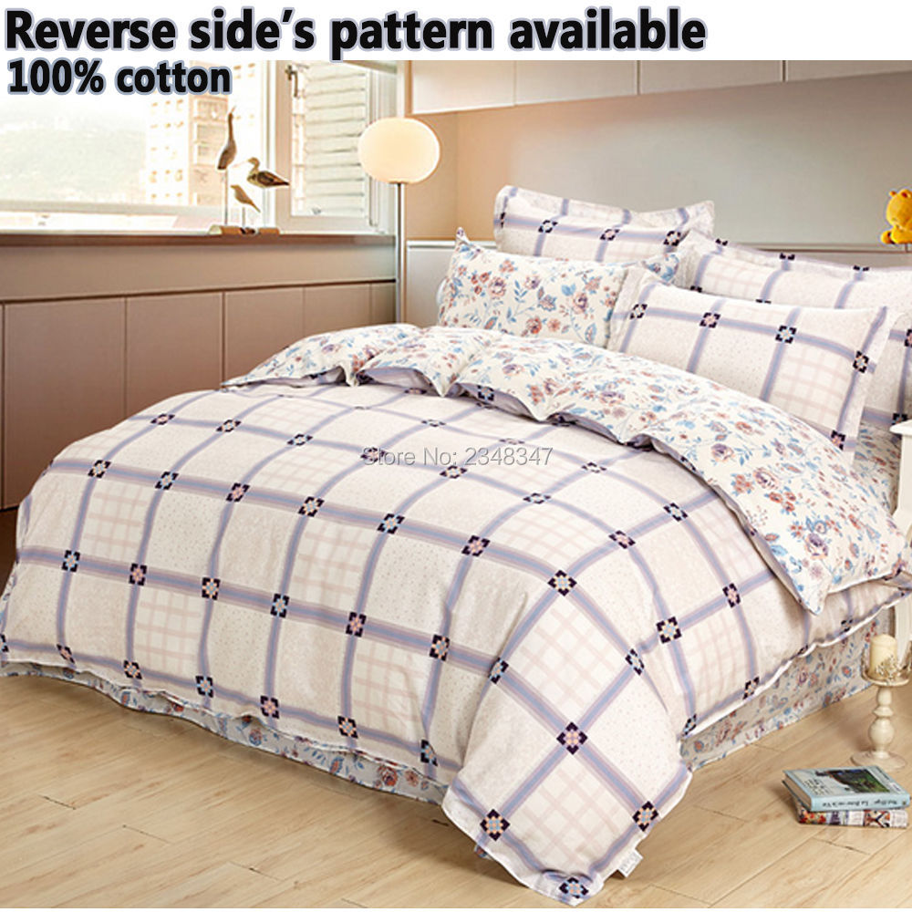 quality 4pcs 100 cotton reversible single twin double full queen king size bed quilt duvet. Black Bedroom Furniture Sets. Home Design Ideas
