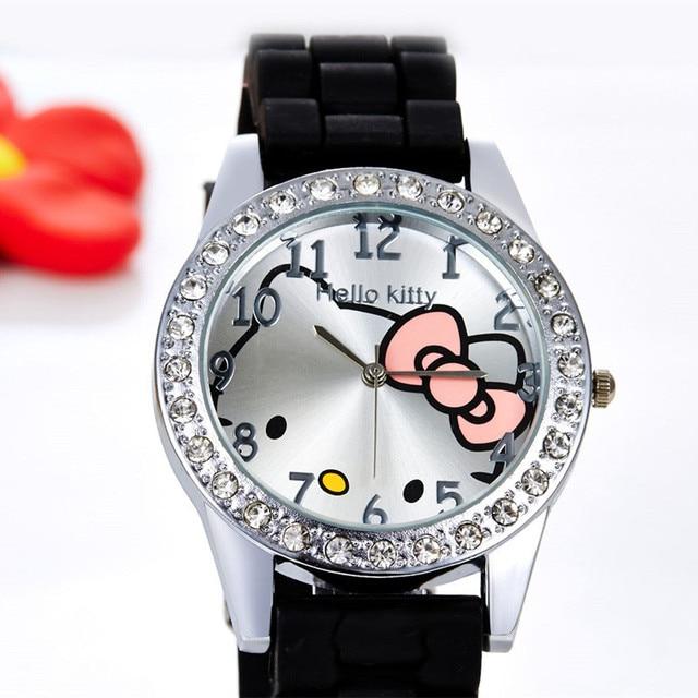 Hello Kitty Watch Rhinestone Cartoon Kids Watches Children's Watches For Girl Jelly Silicone Children's Watch reloj enfant