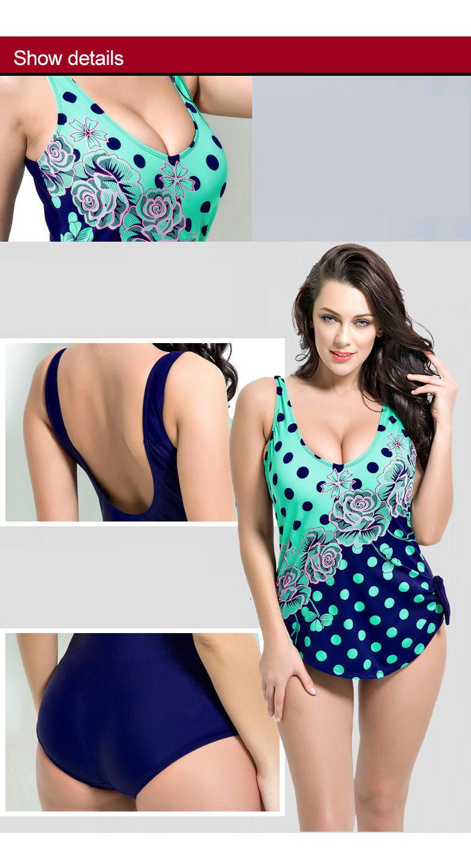 Latest ! Vintage Pad Swimwear Women Retro Plus Size One Piece Swimsuit Dress 4XL Floral Dot Backless Soft Bathing Suit F1692 4