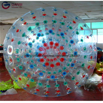 цена на Wholesale 3m diameter inflatable zorb ball bubble football 1.0mm PVC durable rolling ball for outdoor human bowling Sport game