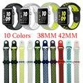 Suave y flexible de silicona transpirable deporte banda para apple watch series 1 y 2 correa de repuesto para iwatch pulsera correa de caucho 42mm