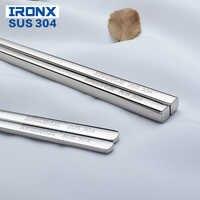 IRONX flat chopsticks stainless steel korean chop sticks reusable metal food sticks for kids adult (1pairs)