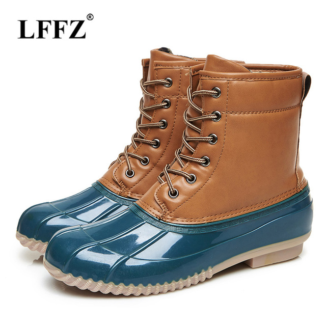 8142e885dba US $52.24 |Lzzf 2018 Autumn Fall Fashion Rubber Women Duck Boots Lace Up  Ladies Flat Rainboots Mid Calf Women Rain Boots Shoes Woman Botas-in  Mid-Calf ...