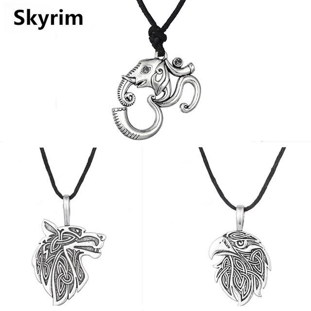 Skyrim Om Yoga Elephant Wolfeagle Charm Pendant Necklace Animal