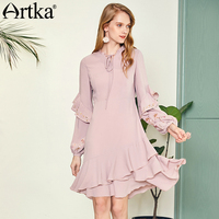 ARTKA 2018 Early Autumn New Women Vintage Embroidered Fashion Lantern Sleeve Ruffled Dress LA10783Q
