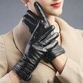 Otoño invierno mujeres calientes botones regalo navidad nuevo diseño demostración del vestido de la ópera touch screen de cuero conducción guantes mitones