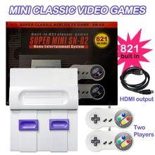 Классическая видеоигра SUPER MINI SNES NES, ретро Игровая приставка, ТВ плеер, встроенный 821 игры с двумя геймпадами
