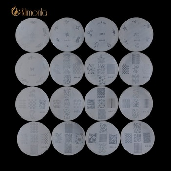 16pcs/lot Transparent Plastic Round Nail Plates Flower Cute Pattern Stamping Template Manicure Nail Art Image Template Tools