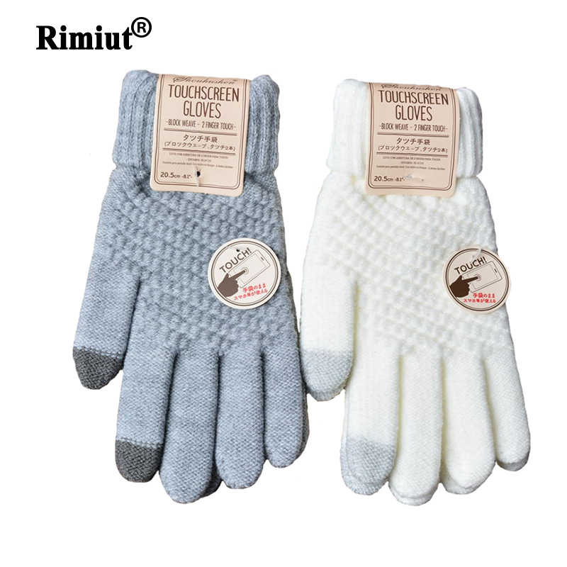 Rimiut Women's Cashmere Knitted Winter Gloves Cashmere Knitted Women Autumn Winter Warm Thick Gloves Touch Screen Skiing Gloves