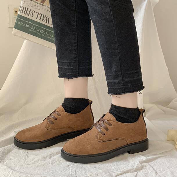 XDA2019 new style Faux Suede single Shoes Woman Platform Oxfords British Style Flat Casual Lace-up fashion Women Shoes E59 5