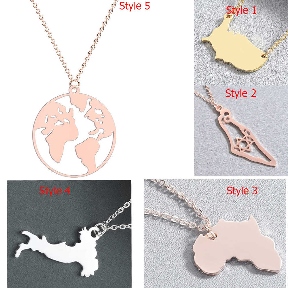 Chandler Hot World Map Necklace Stainless Steel Globe Italy America Africa Country Map Pendant Chokers Clavickle Chain Collars