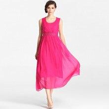 db5e448f43 Factory outlet kobiety lato jedwabne sukienki 100% natura jedwabiu koraliki  czechy długie sukienki plażowe wahadło