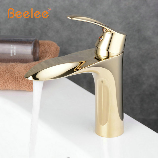 Beelee Solid Brass Gold Faucet Bathroom Bath Faucet Single Hole