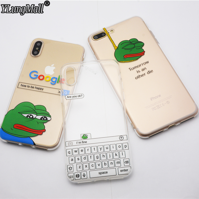 Galleria fotografica YLungMall Funny Meme Are You Ok I Am Fine Frog Clear Phone Case Cover Fundas Coque For iPhone 6 6S 6Plus 7 7Plus 8 Plus X Case
