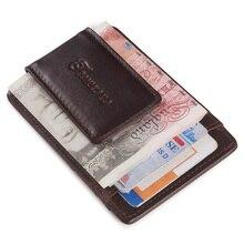teemzone Vintage Card Case Men Oil Wax Подлинная кожа Кредитная карточка ID Держатель с сильным магнитом Деньги Клип Кошелек Кофе K308