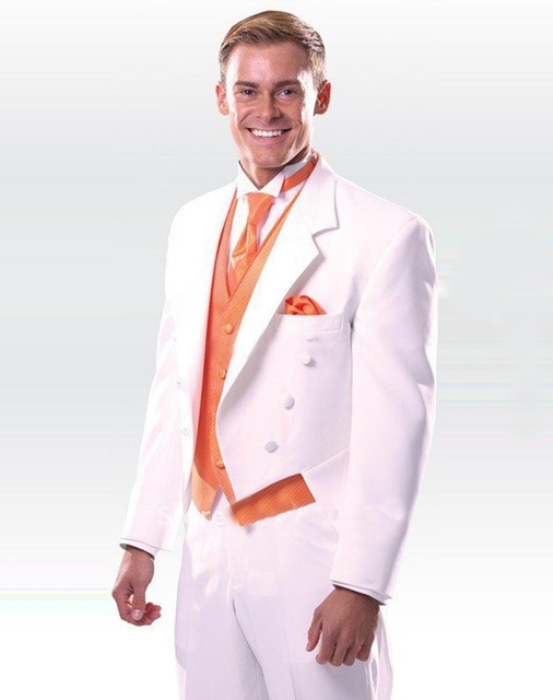 2017 Handmade White Tuxedos With Orange Vest Groomsman Wedding Dinner Party Suits Charming Show