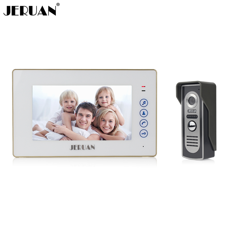 JERUAN Home Safety 7 inch color screen touch key video door phone intercom system 700TVL COMS IR Night vision Camera In stock jeruan 7 color video door phone 700tvl coms camera access control system cathode lock free shipping