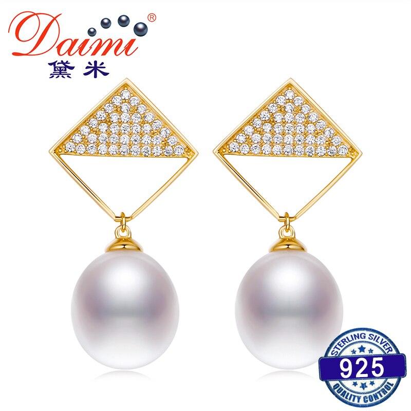 DAIMI Lozenge Design Fashion 925 Silver 10-11mm Water Drop Earring Freshwater Pearl Earrings water drop faux pearl drop earrings