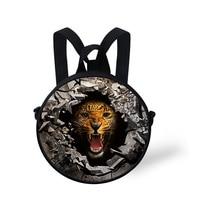 Fashion Wolf Tiger Style Boys Round Shape Small Sling Shoulder Bag Kid Messenger Crossbody School Bags