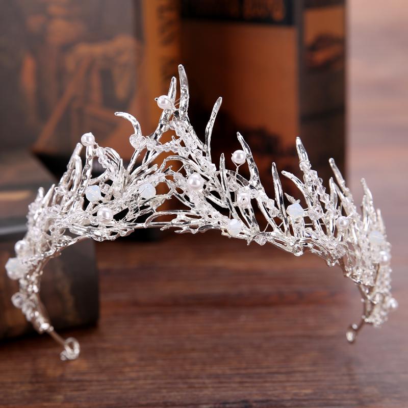 Rhinestone Waterdrop Leaf Tiara Crown Headband Wedding Hair Jewelry