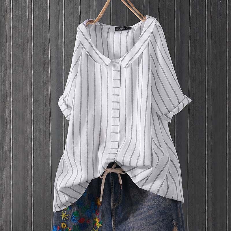 Summer Striped Shirt Women Vintage Short Sleeve Tunic Tops Female Loose Casual Blusas Elegant Work OL Blouse Mujer Plus Size