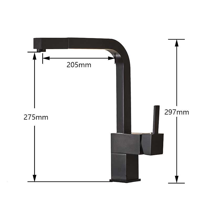 Image 2 - Black Pull Out Kitchen Sink Faucet Deck Mounted Bathroom Kitchen Tap 360 Rotation Spout Water Tap Brass Square Handle Mixer Tap-in Kitchen Faucets from Home Improvement