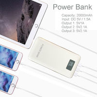 Recommend 20000mAh LCD Power Bank With LED Light 3USB Outputs External Charger Powerbank For Mobile